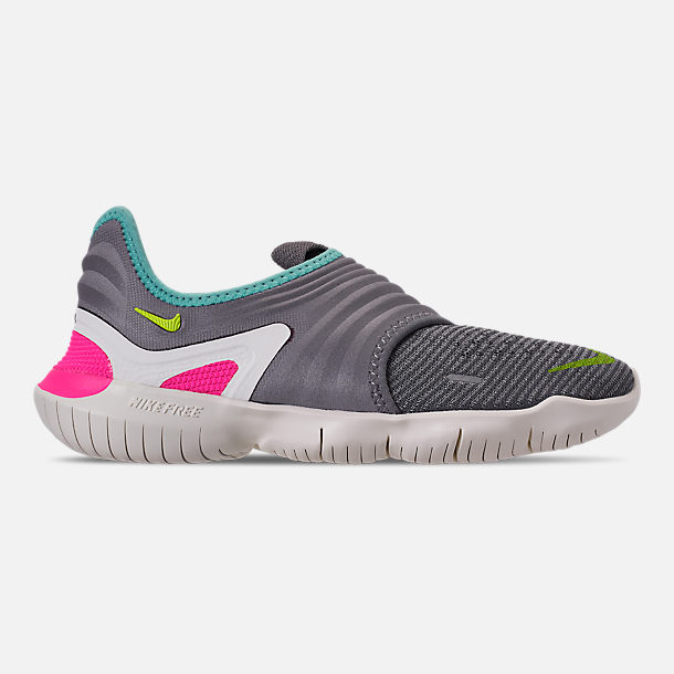 Right view of Women's Nike Free RN Flyknit 3.0 Running Shoes in Gunsmoke/Volt/Aurora Green