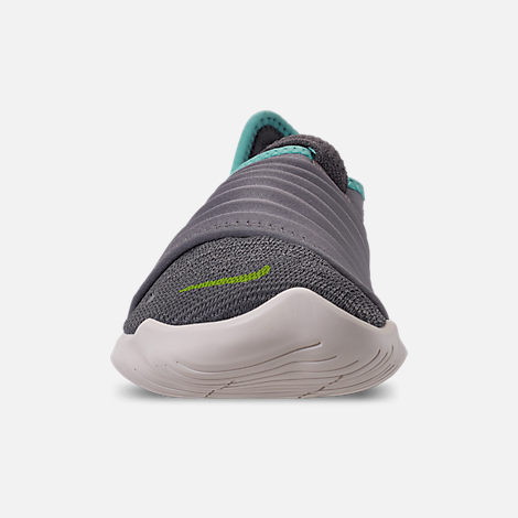 Front view of Women's Nike Free RN Flyknit 3.0 Running Shoes in Gunsmoke/Volt/Aurora Green