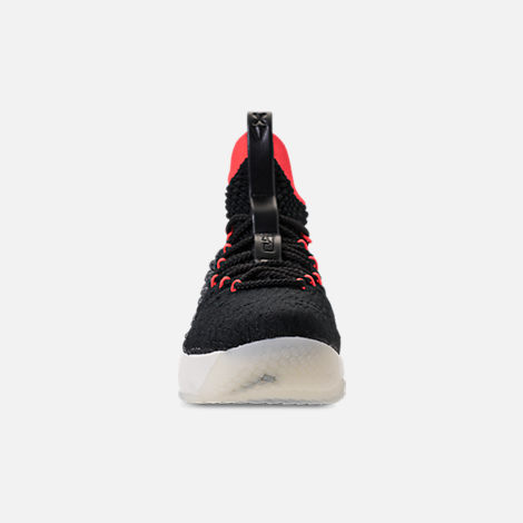 Front view of Big Kids' Nike LeBron 15 Basketball Shoes in Black/Sail/Bright Crimson