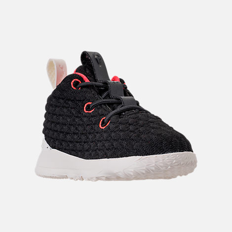 Three Quarter view of Kids' Toddler Nike LeBron 15 Basketball Shoes in Black/Sail/Bright Crimson