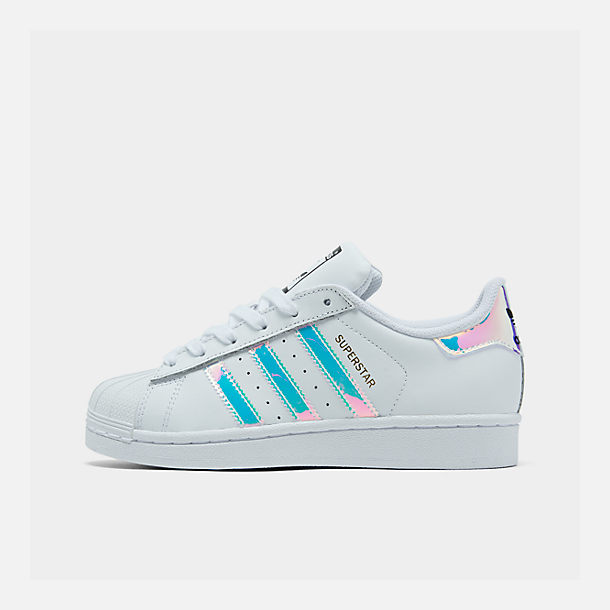 Right view of Girls' Big Kids' adidas Superstar Casual Shoes in Metallic Iridescent/White