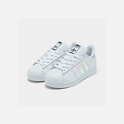 Three Quarter view of Girls' Big Kids' adidas Superstar Casual Shoes in Metallic Iridescent/White