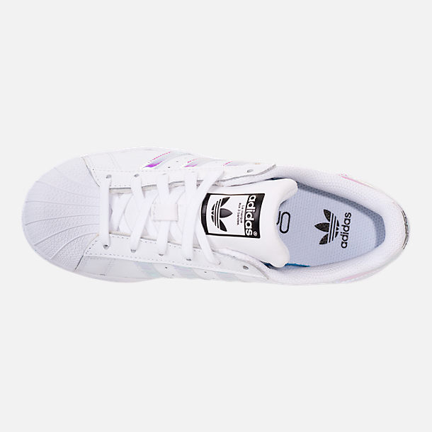 Top view of Girls' Big Kids' adidas Superstar Casual Shoes in Metallic Iridescent/White