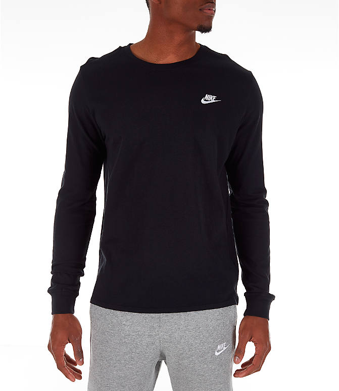 Front view of Men's Nike Futura Long-Sleeve T-Shirt in Black