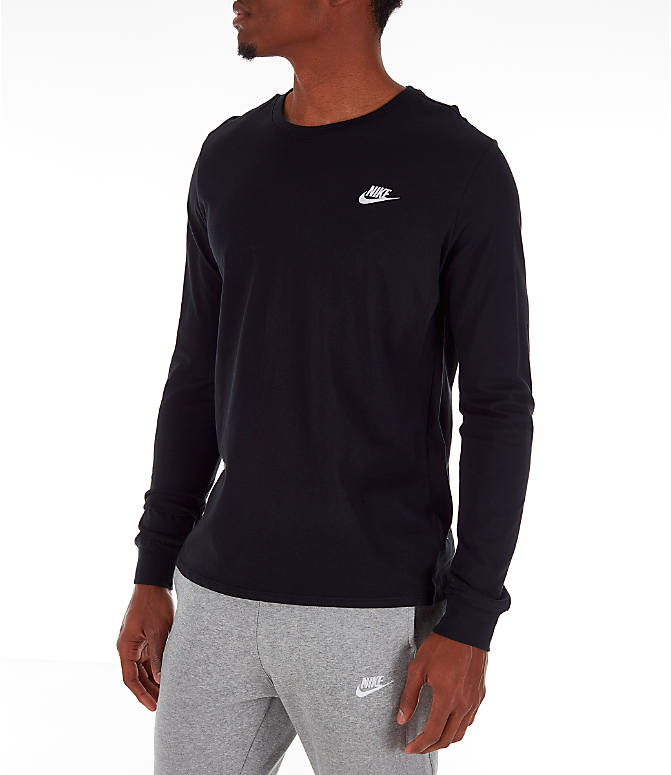 Front Three Quarter view of Men's Nike Futura Long-Sleeve T-Shirt in Black
