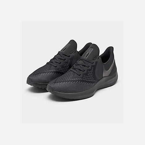 366e1173a Three Quarter view of Men s Nike Air Zoom Winflo 6 Running Shoes in  Black Black