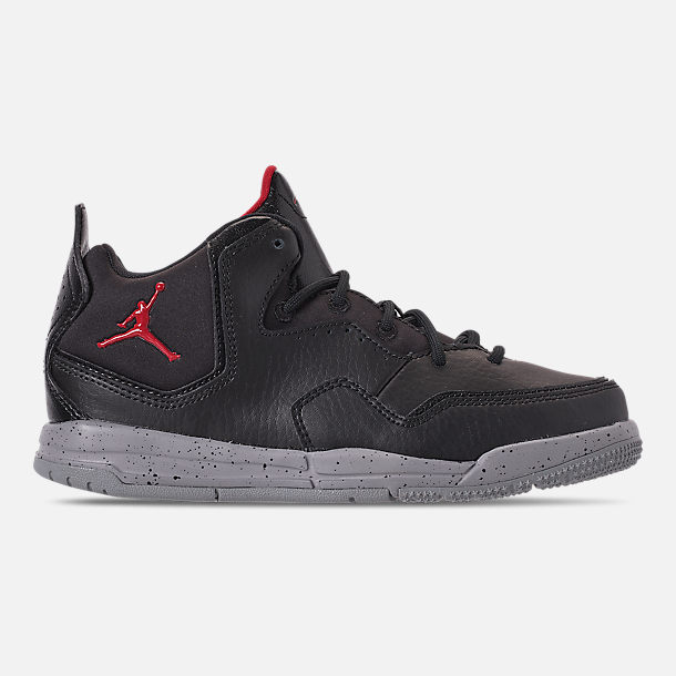 Right view of Boys' Little Kids' Air Jordan Courtside 23 Training Shoes in Black/Gym Red/Particle Grey