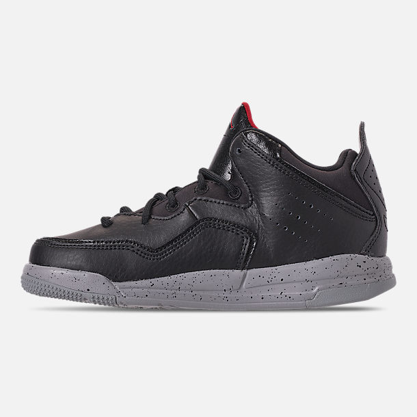 Left view of Boys' Little Kids' Air Jordan Courtside 23 Training Shoes in Black/Gym Red/Particle Grey