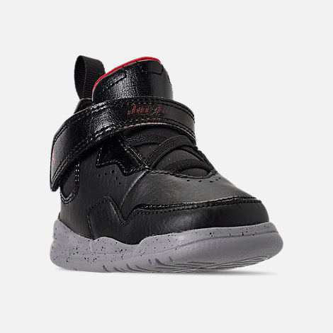 Three Quarter view of Boys' Toddler Air Jordan Courtside 23 Training Shoes in Black/Gym Red/Particle Grey