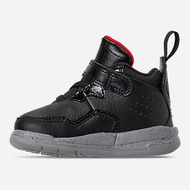 Left view of Boys' Toddler Air Jordan Courtside 23 Training Shoes in Black/Gym Red/Particle Grey