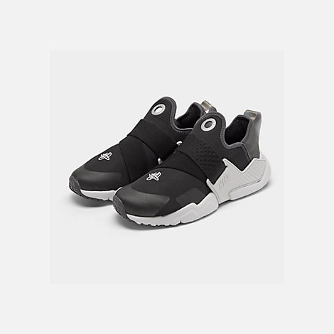 Three Quarter view of Big Kids' Nike Huarache Extreme SE JDI Casual Shoes in Black/Metallic Silver/Dark Grey/Pure Platinum