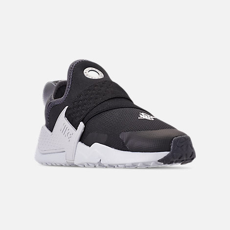 Three Quarter view of Little Kids' Nike Huarache Extreme SE Casual Shoes in Black/Metallic Silver/Dark Grey