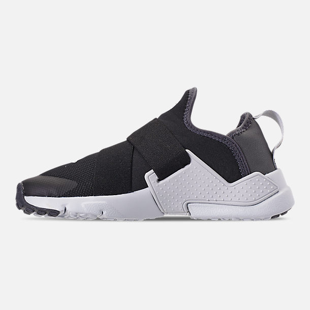 Left view of Little Kids' Nike Huarache Extreme SE Casual Shoes in Black/Metallic Silver/Dark Grey
