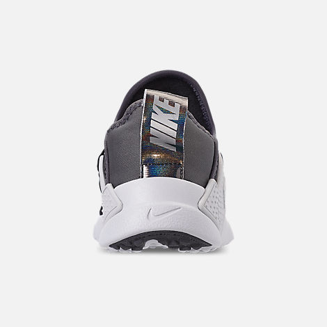 Back view of Little Kids' Nike Huarache Extreme SE Casual Shoes in Black/Metallic Silver/Dark Grey