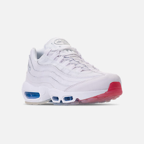Three Quarter view of Men's Nike Air Max 95 Casual Shoes in White/Metallic Silver/Photo Blue