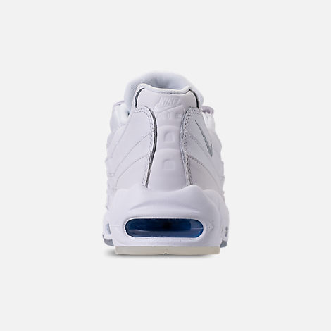 Back view of Men's Nike Air Max 95 Casual Shoes in White/Metallic Silver/Photo Blue