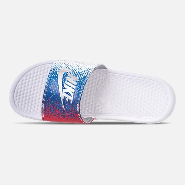 quality design 169a8 da54b ... czech top view of mens nike benassi usa slide sandals in white metallic  silver speed 79ee3