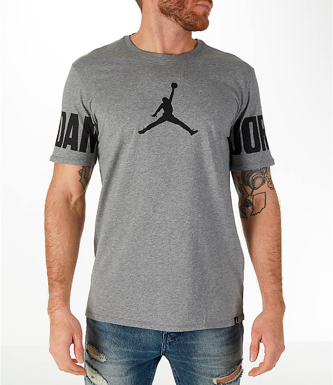 Front view of Men's Jordan Sportswear Oversized Jumpman T-Shirt in Carbon Heather