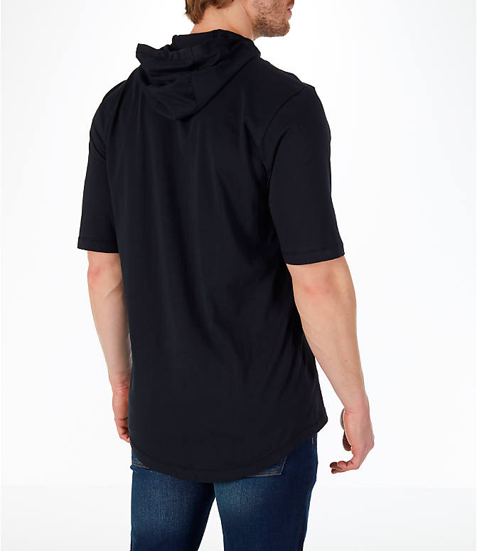 Back Right view of Men's Jordan Sportswear MJ Signature Hooded T-Shirt in Black