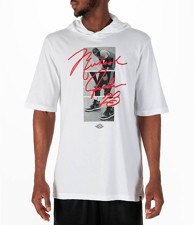 Front view of Men's Jordan Sportswear MJ Signature Hooded T-Shirt in White