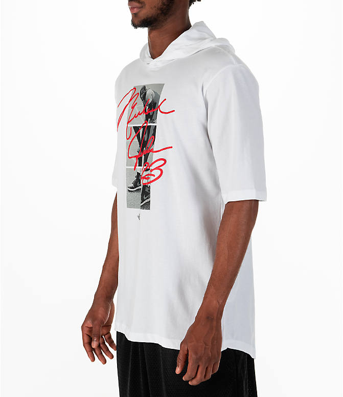 Front Three Quarter view of Men's Jordan Sportswear MJ Signature Hooded T-Shirt in White