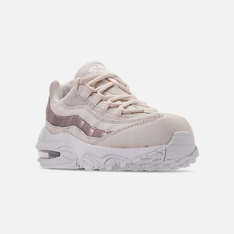 Three Quarter view of Girls' Little Kids' Nike Air Max 95 Casual Shoes in Phantom/Metallic Red Bronze/White