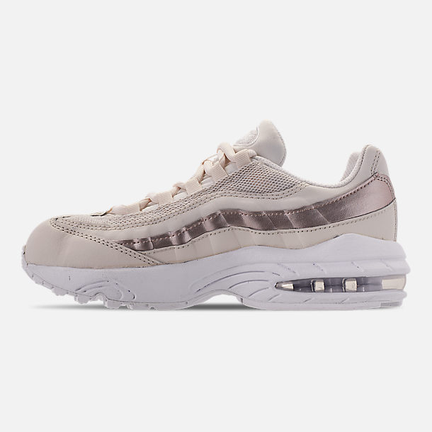 Left view of Girls' Little Kids' Nike Air Max 95 Casual Shoes in Phantom/Metallic Red Bronze/White