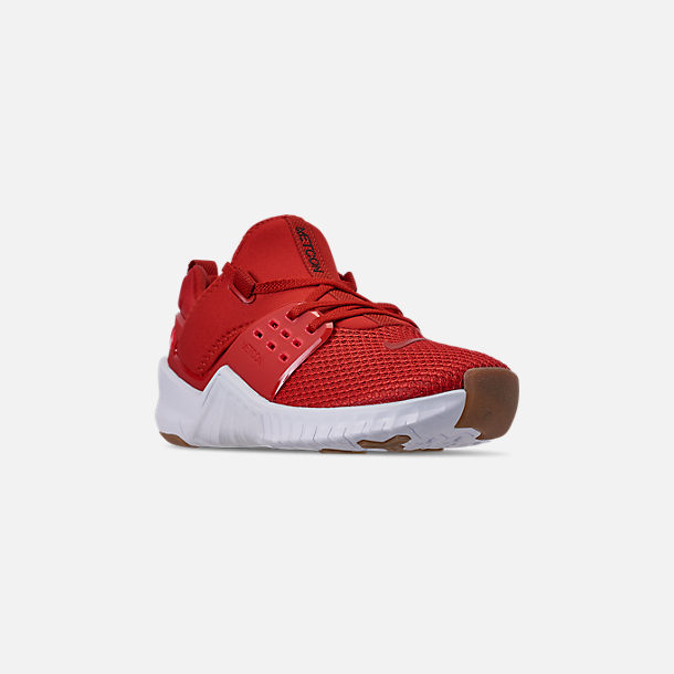 Three Quarter view of Men's Nike Free X Metcon 2 Training Shoes in Mystic Red/Red Orbit/Gum Light Brown