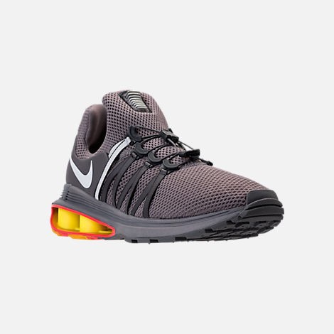 Three Quarter view of Unisex Nike Shox Gravity Casual Shoes in Gunsmoke/White/Total Crimson