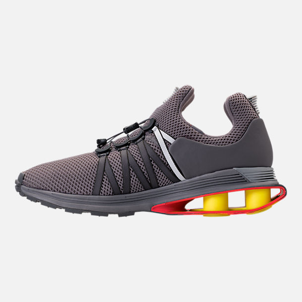 Left view of Unisex Nike Shox Gravity Casual Shoes in Gunsmoke/White/Total Crimson