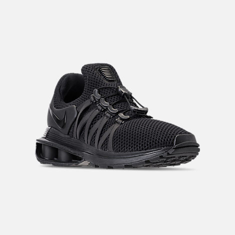 Three Quarter view of Women's Nike Shox Gravity Casual Shoes in Black/Black