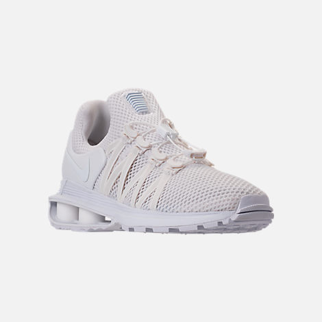Three Quarter view of Women's Nike Shox Gravity Casual Shoes in White/White