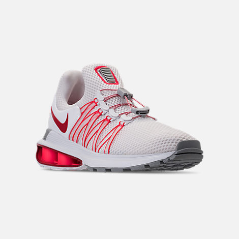 Three Quarter view of Women s Nike Shox Gravity Casual Shoes in White University  Red  f300df873