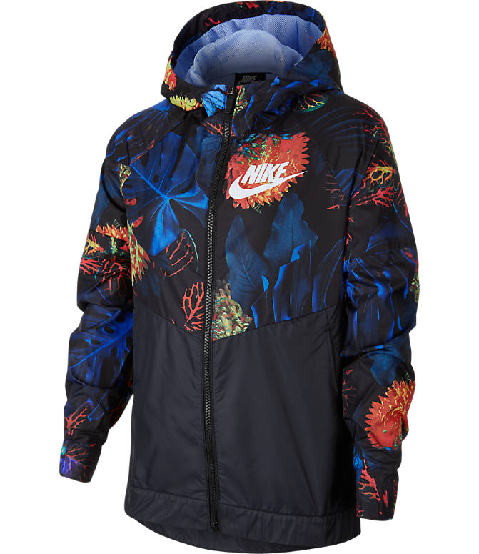 Front view of Kids' Nike Sportswear Floral Windrunner Full-Zip Jacket in Indigo Force/Aluminum/White