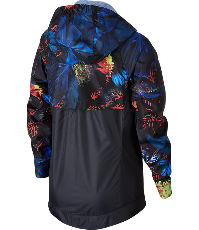 Back view of Kids' Nike Sportswear Floral Windrunner Full-Zip Jacket in Indigo Force/Aluminum/White