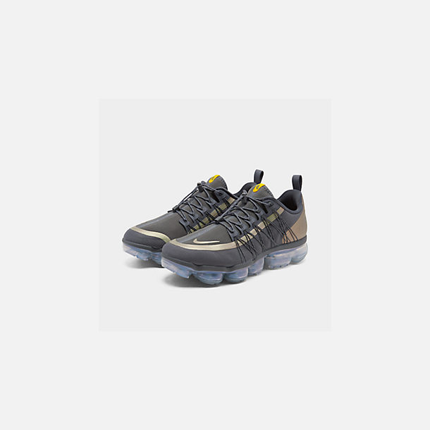 Three Quarter view of Men's Nike Air VaporMax Run Utility Running Shoes in Dark Grey/Amarillo/Black