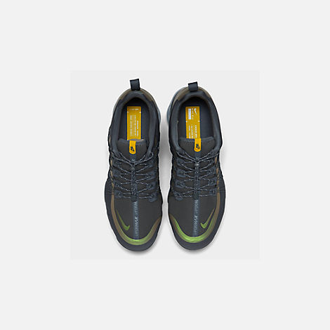 Back view of Men's Nike Air VaporMax Run Utility Running Shoes in Dark Grey/Amarillo/Black
