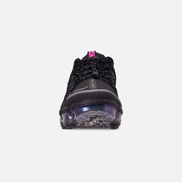Front view of Men's Nike Air VaporMax Run Utility Running Shoes in Black/Laser Fuchsia/Anthracite