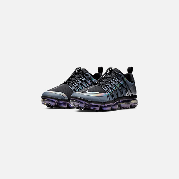 Three Quarter view of Men's Nike Air VaporMax Run Utility Running Shoes in Blue Dusk/Black/Anthracite