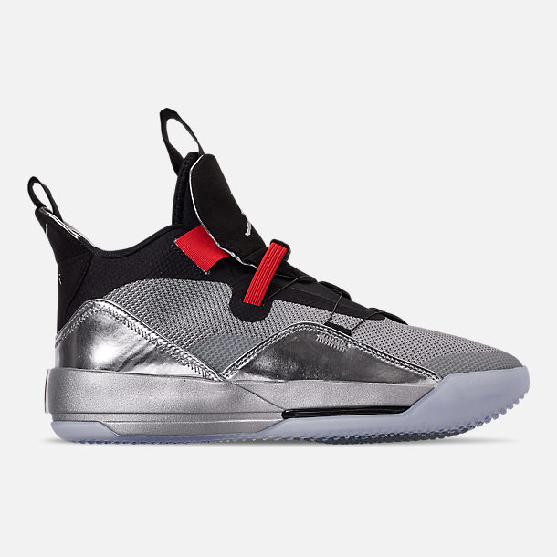 Right view of Men's Air Jordan XXXIII Basketball Shoes in Metallic Silver/Black