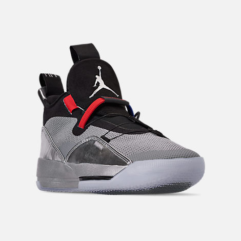 Three Quarter view of Men's Air Jordan XXXIII Basketball Shoes in Metallic Silver/Black