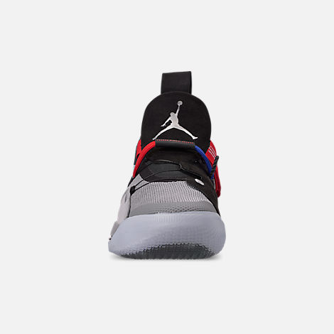 Front view of Men's Air Jordan XXXIII Basketball Shoes in Metallic Silver/Black