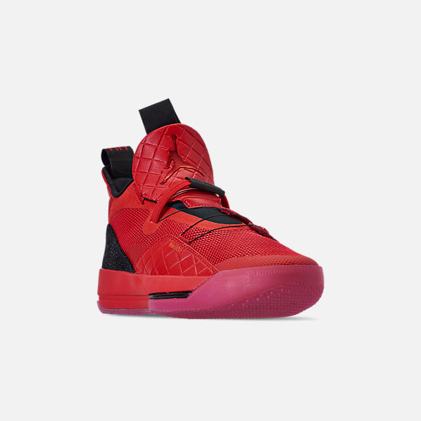 Three Quarter view of Men's Air Jordan XXXIII Basketball Shoes in University Red/University Red/Black/Sail