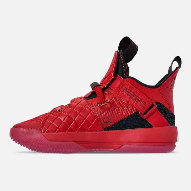 Left view of Men's Air Jordan XXXIII Basketball Shoes in University Red/University Red/Black/Sail