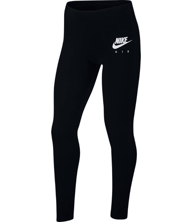 Front view of Girls' Nike Air Fave Leggings in Black/White