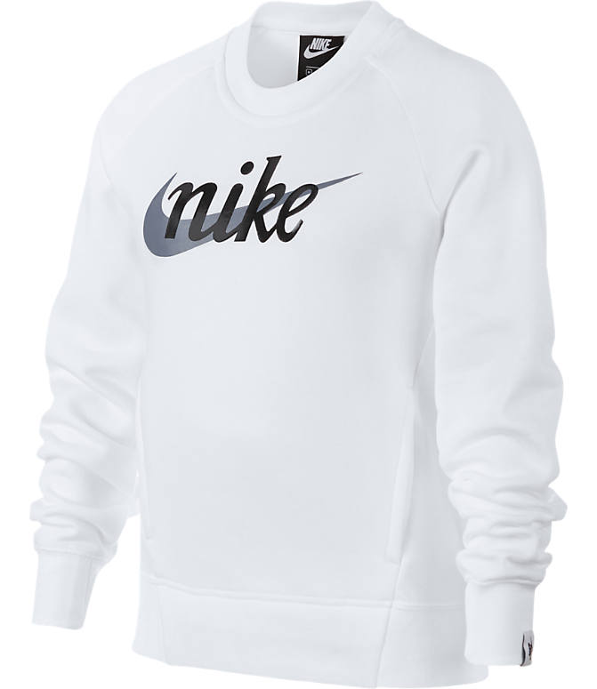 Front view of Girls' Nike Sportswear Graphic Crewneck Sweatshirt in White