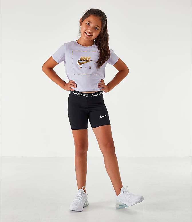 Front Three Quarter view of Girls' Nike Pro Boyshort Bike Shorts in Black/White