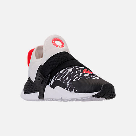 Three Quarter view of Big Kids' Nike Huarache Extreme Just Do It Print Casual Shoes in White/Bright Crimson/Black/Wolf Grey