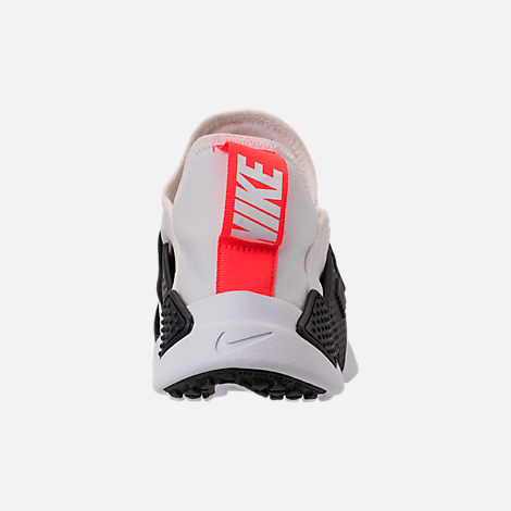 Back view of Big Kids' Nike Huarache Extreme Just Do It Print Casual Shoes in White/Bright Crimson/Black/Wolf Grey