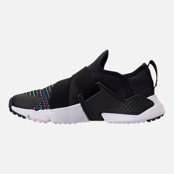 Left view of Boys' Grade School Nike Huarache Extreme SE Casual Shoes in Black/White/Racer Pink/Racer Blue